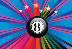 Eight Ball. Black eight billiard ball on colorful background with rays royalty free illustration