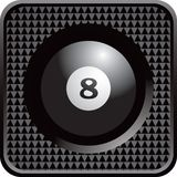 Eight ball in black checkered web button Stock Images