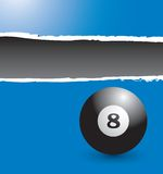 Eight ball on blue ripped banner Stock Image