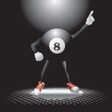 Eight ball character on the dance floor Stock Photos