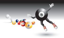 Eight ball character flying by billiard balls. Eight ball cartoon character flying toward billiard balls vector illustration