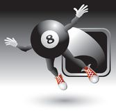 Eight ball character flying out of silver frame vector illustration