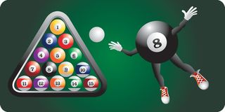 Eight ball character by set of billiard balls Royalty Free Stock Image