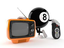 Eight ball character with tv set and remote vector illustration