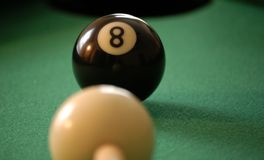 Eight ball corner pocket stock photo