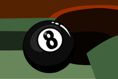 Eight ball in the corner pocket Stock Photography