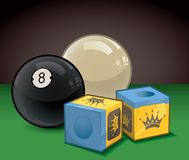 Billiards Design with 8-Ball and Cue Ball stock illustration