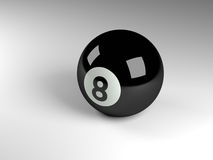 Eight ball 3d render. 3d render of a black pool ball Royalty Free Stock Photo