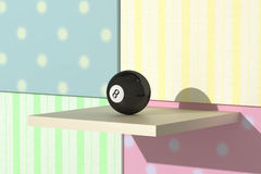 Eight ball. 3d rendering of an eight billiard ball on a colored background Stock Image