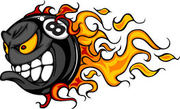 Eight Ball Flaming Face Vector Image. Billiards Eight Ball Flaming Face Vector Illustration Stock Images