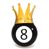 Eight ball with gold crown. 3d illustration   over white background Stock Photos