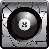 Eight ball gray cracked web button Stock Images