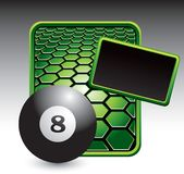 Eight ball on green hexagon advertisement Stock Photography