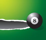 Eight ball on green ripped banner Royalty Free Stock Image