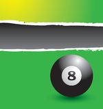 Eight ball on green ripped template banner Stock Photos