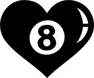 Eight Ball heart Pool. Vector Stock Images