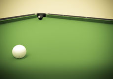 Eight Ball Next to Corner Pocket Royalty Free Stock Photography