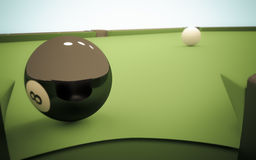 Eight Ball Next to Corner Pocket Royalty Free Stock Photo