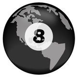 Eight ball over earth. Earth or globe with eight ball overlay Stock Image