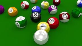 Eight Ball Pool Game - Balls Scattered After Break Shot Stock Images
