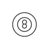 Eight ball pool game line icon, outline vector sign, linear style pictogram isolated on white. Royalty Free Stock Photo