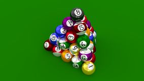 Eight Ball Pool Highest Score Constructed as Pyramid Royalty Free Stock Photography