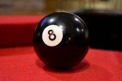 Eight Ball. On pool table Stock Images