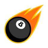 Eight ball snooker billiard pool cue sport comet fire tail flying logo. Isolated symbol badge label Stock Photos