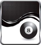Eight ball swoosh template. Eight ball on black diamond wave background stock illustration