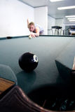 Eight ball to corner pocket Stock Photo