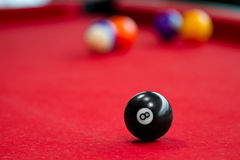 Eight balls billiards. Picture shoot with short focus for art vision stock image