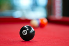 Eight balls billiards. Picture shoot with short focus for art vision Royalty Free Stock Photos