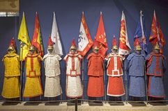 The eight banners of qing dynasty. Eight warrior dress stock photography