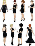 Eight beautiful ladies in black cocktail dresses. Eight beautiful ladies with stylish hairdo and beautiful smile in black cocktail dresses in realistic cartoon stock illustration