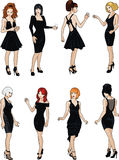 Eight beautiful ladies in black cocktail dresses Stock Images