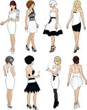 Eight beautiful ladies in white cocktail dresses Royalty Free Stock Photo