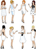 Eight beautiful ladies in white cocktail dresses Royalty Free Stock Image