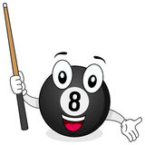 Eight Billiard Ball Character with Cue. A funny cartoon eight billiard ball holding a cue, isolated on white background. Eps file available Stock Images