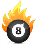 Eight billiard ball in fire Stock Photo