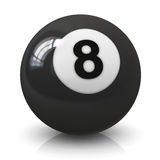 Eight billiard ball. Eight 8 billiard game ball isolated on white background with reflection effect Royalty Free Stock Photos