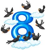 Eight bird on sky. Illustration royalty free illustration