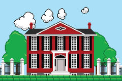 Eight Bit Mansion. Retro eight bit videogame rendering of a mansion Royalty Free Stock Images