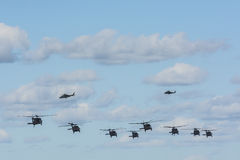 Eight Black Hawks and two Augusta AW109 helicopters Stock Photos