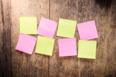 Eight blank colorful sticky notes Royalty Free Stock Photo