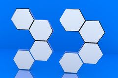 Eight blank hexagon box display Royalty Free Stock Image