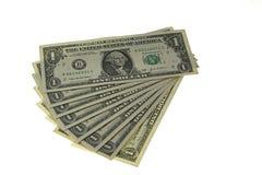 Eight bucks. Fan of eight one dollar bills Stock Images
