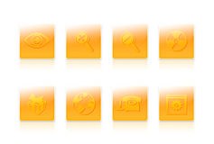 Eight business icons. Eight yellow business icons with objects Stock Photography