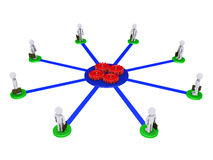 Eight businessmen connected to four cogs. Eight 3d businessmen on pedestals are connected to four red cogs Stock Photo