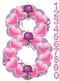 Eight candle. The numbers from zero to nine covered with hearts and candles. Vector illustration Stock Photo
