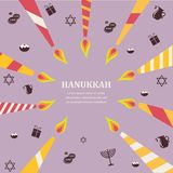 Eight candles for eight days of Jewish holiday Hanikkah infographics Royalty Free Stock Photo
